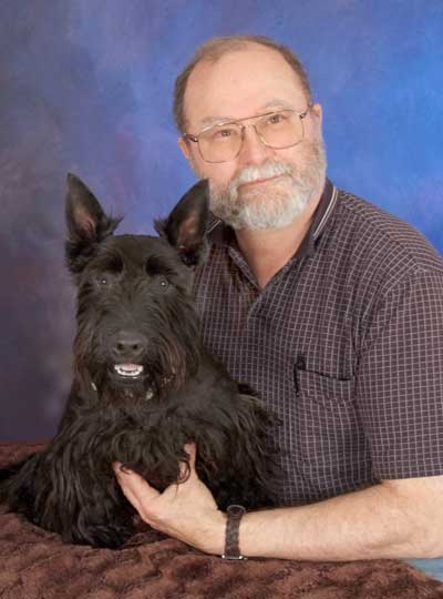Dave and his Scottish Terrier, Wilbraham Crunchasaurus