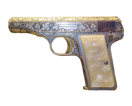 1955 version of Browning 1910 model, factory engraved, .380 ACP caliber. Photo: Dave Corbin