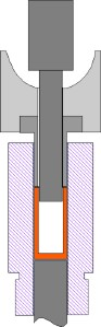 funnel assembly cut-away, max. seating depth